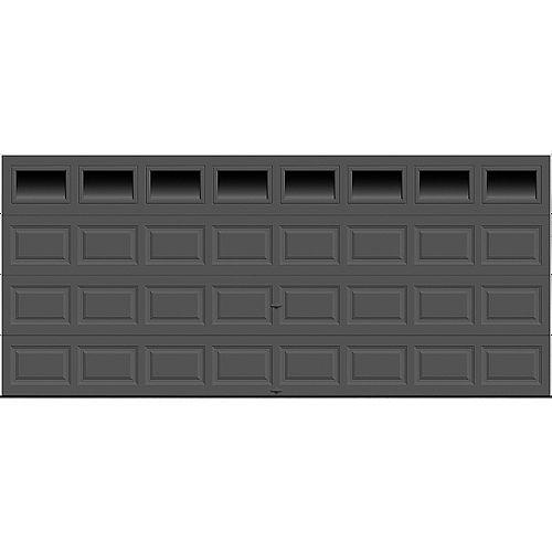 Porte de garage Classique 16pi x 7pi isolée Intellicore Valeur «R» 12.9 Charbon avec fenêtre Unie