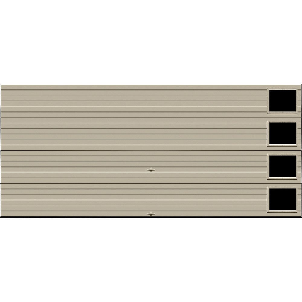 Clopay Porte de garage Griffintown 16pi x 7pi isolée Intellicore Valeur «R» 18.4 Fini Sable avec fenêtre