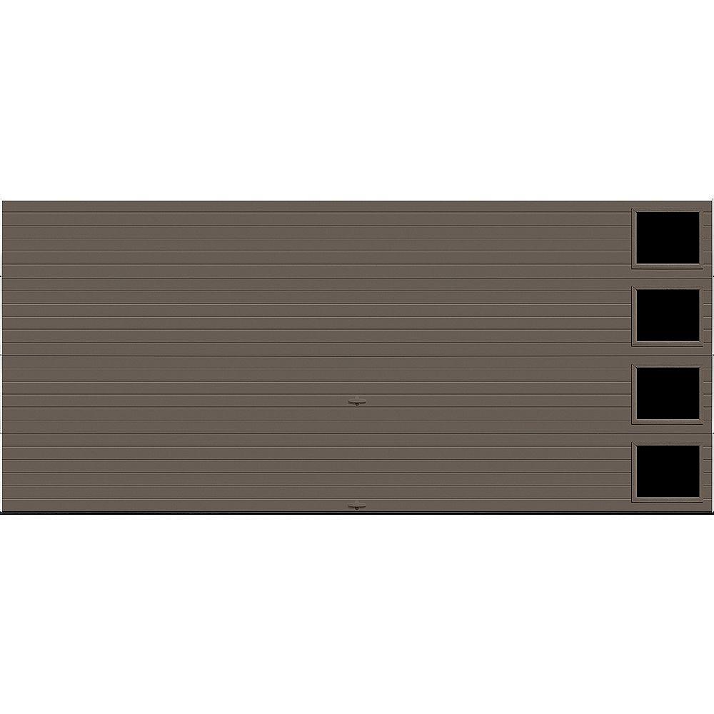 Clopay Porte de garage Griffintown 16pi x 7pi isolée Intellicore Valeur «R» 18.4 Fini Bronze avec fenêtre