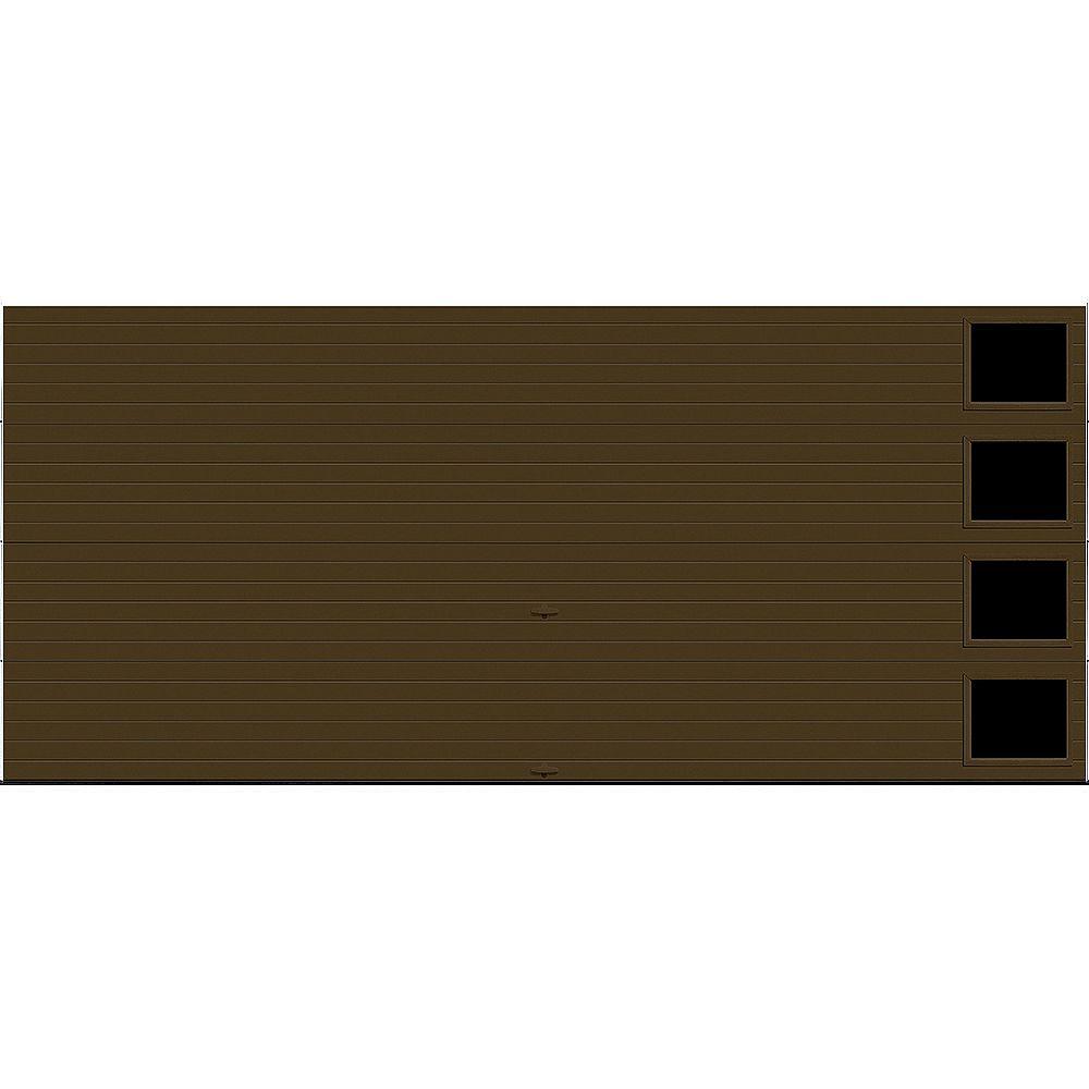 Clopay Porte de garage Griffintown 16pi x 7pi isolée Intellicore Valeur «R» 18.4 Fini Chocolat avec fenêtre