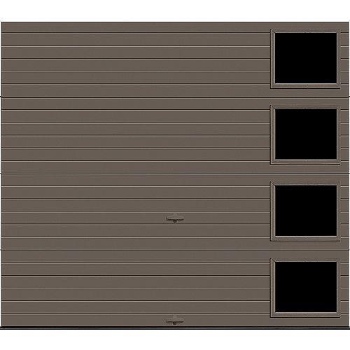 Porte de garage Griffintown 8pi x 7pi isolée Intellicore Valeur «R» 18.4 Fini Bronze avec fenêtre