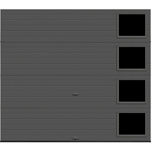 Porte de garage Griffintown 8pi x 7pi isolée Intellicore Valeur «R» 18.4 Fini Charbon avec fenêtre