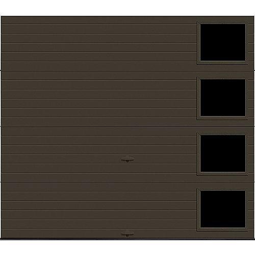 Porte de garage Griffintown 9pi x 7pi isolée Intellicore Valeur «R» 18.4 Fini Brun Moka avec fenêtre