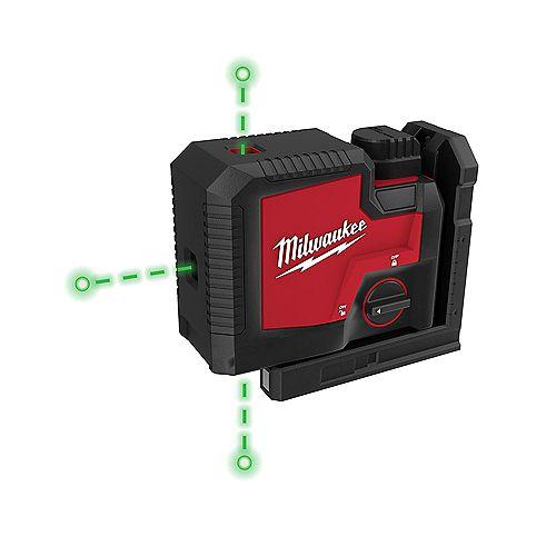 Niveau laser vert de 100 pieds à 3 points rechargeables avec batterie et chargeur Lithium-Ion USB