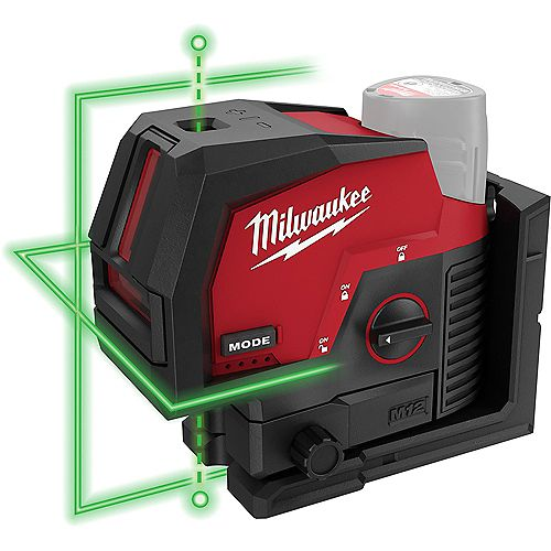 M12 12V Lithium-Ion Cordless Green 125 ft. Cross Line and Plumb Points Laser Level (Tool-Only)