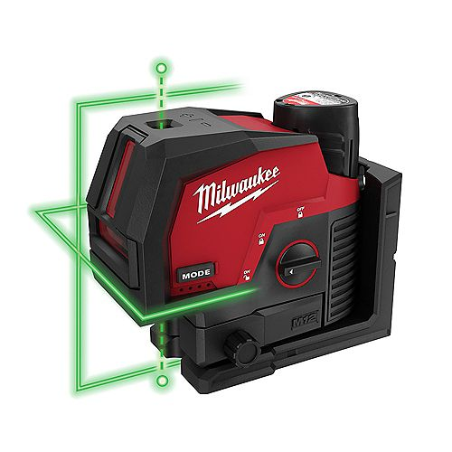 Milwaukee Tool M12 12V Lithium-Ion Green 125 ft. Cross Line and Plumb Points Laser Level Kit with 3.0 Ah Battery