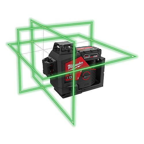 Milwaukee Tool M12 12V Lithium-Ion Green 250 ft. 3-Plane Laser Level Kit with One 4.0 Ah Battery, Charger and Case