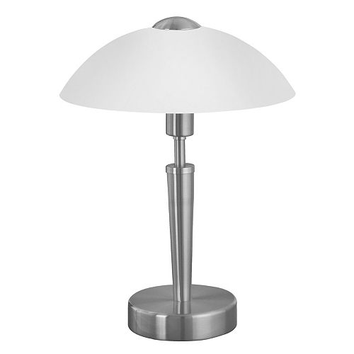 Solo-1 Lampe de Table, Fini Nickel Mat avec Verre Blanc