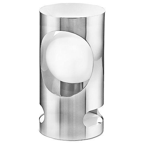 Tubola Lampe de Table, Fini Chrome avec Verre Blanc