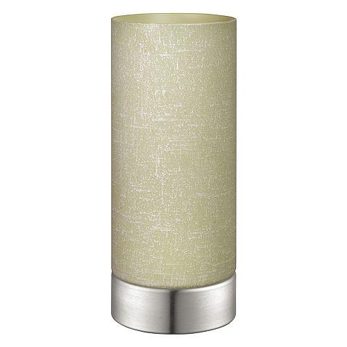 Myna Lampe de Table, Fini Nickel Mat avec Verre Lin Crème
