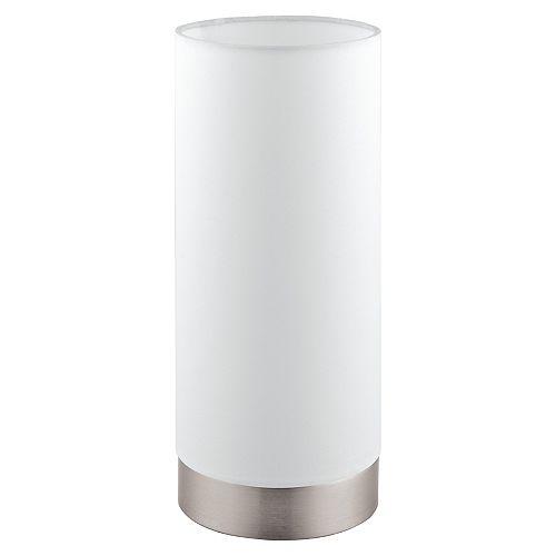 Pasteri Table Lamp, Fini Nickel Mat avec Abat-Jour en Tissu Blanc