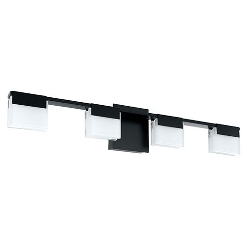 Eglo Vente LED Vanity Light 4L, Matte Black Finish with Satin Acrylic Shade