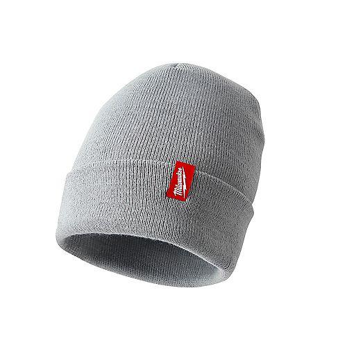 Gray Acrylic Cuffed Beanie Hat