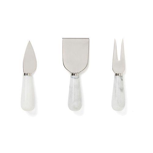 Fox Run Ensemble de couteaux à fromage en marbre blanc 3 pièces de qualité supérieure