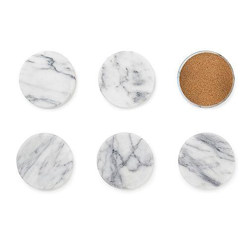 Marble Coaster, White, Set of 6