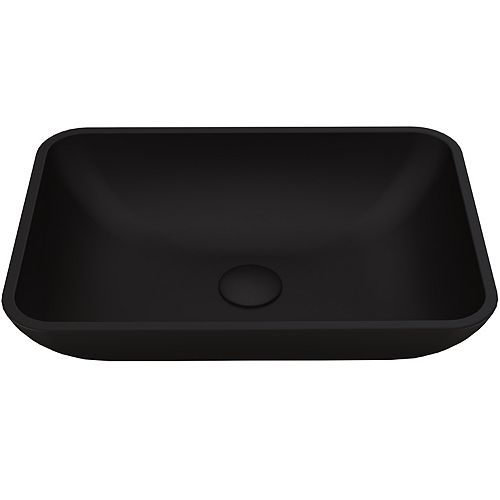 Black Sottile Rectangular MatteShell Glass Bathroom Vessel Sink