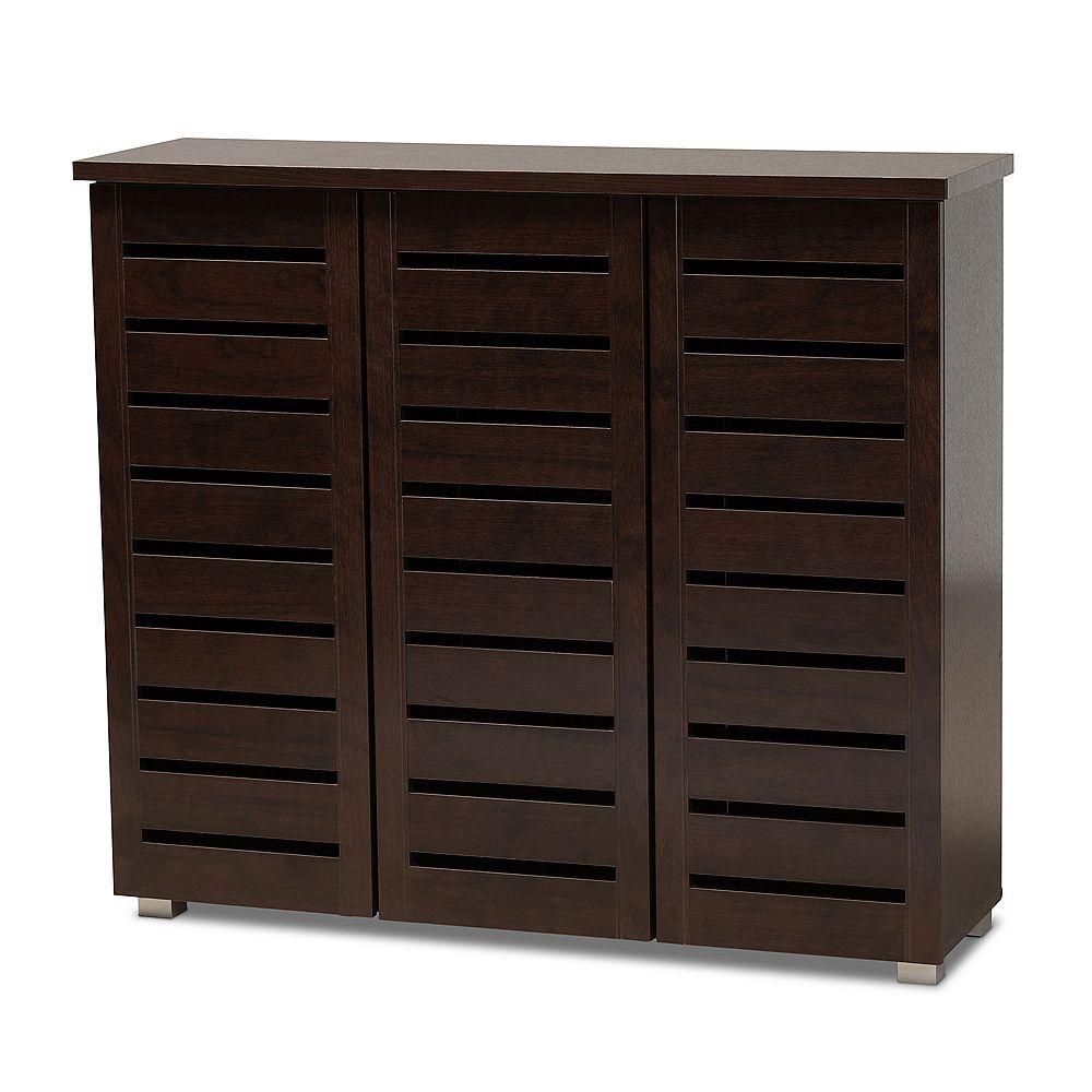 Baxton Studio Adalwin 3-Door Wood Shoe Storage Cabinet in Dark Brown