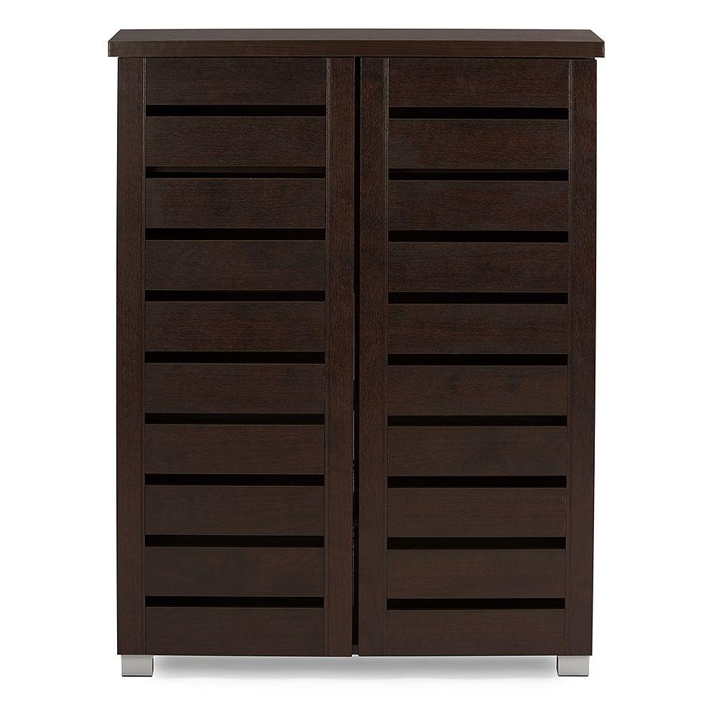 Baxton Studio Adalwin 2-Door Wood Shoe Storage Cabinet in Dark Brown