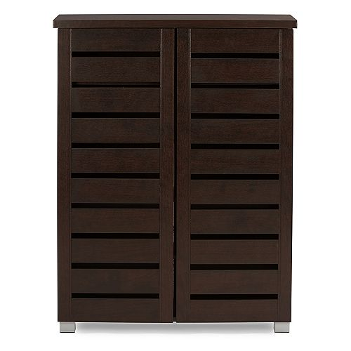 Adalwin 2-Door Wood Shoe Storage Cabinet in Dark Brown
