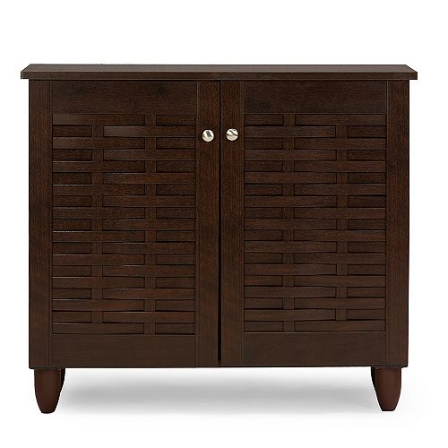Winda 2-Door Wood Shoe Storage Cabinet in Dark Brown