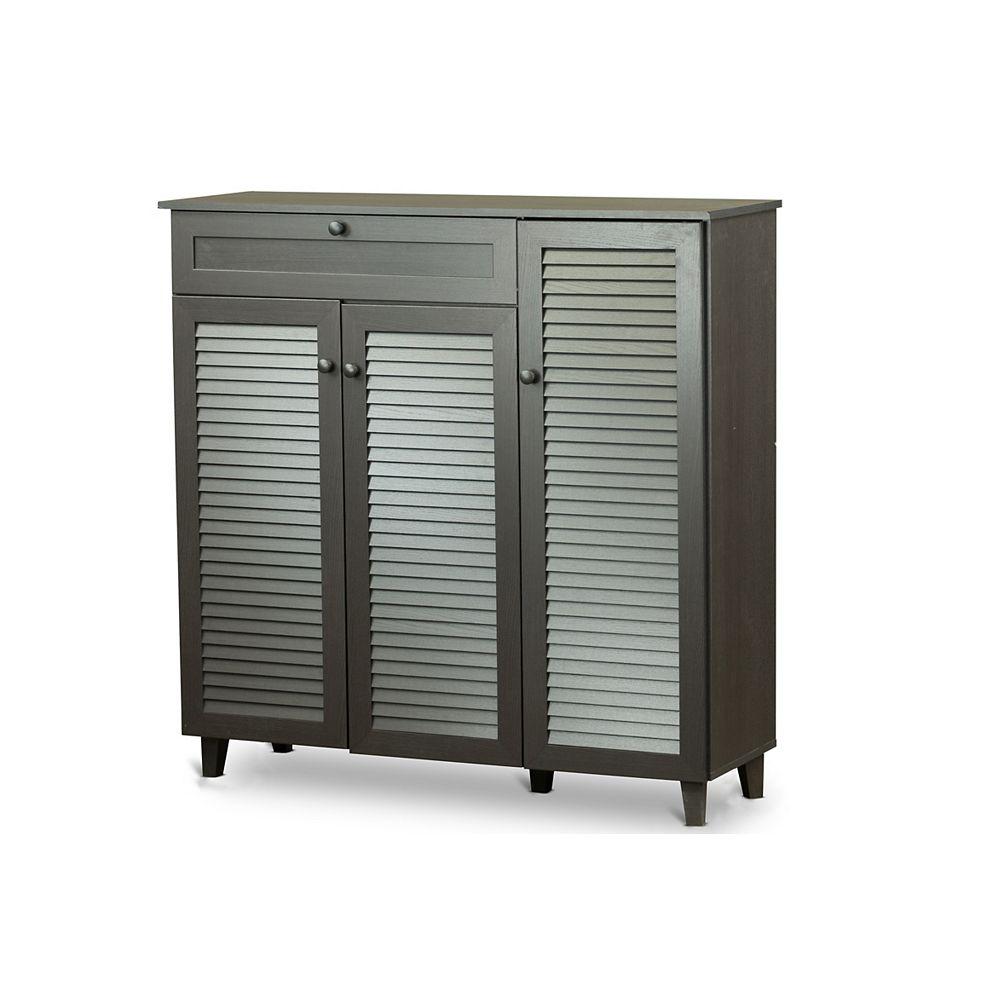 Baxton Studio Pocillo Wood Shoe Storage Cabinet in Dark Brown