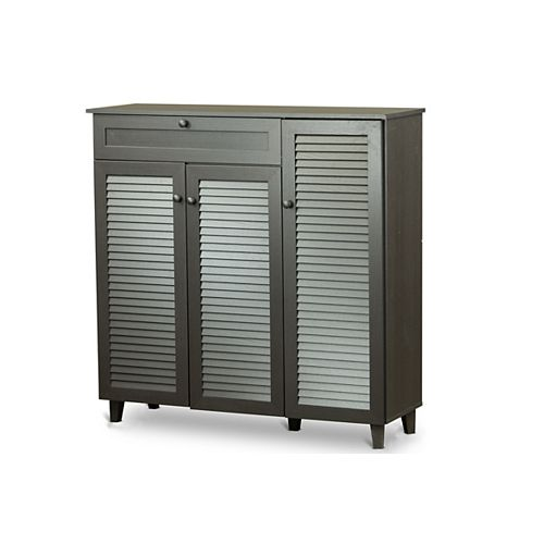 Pocillo Wood Shoe Storage Cabinet in Dark Brown