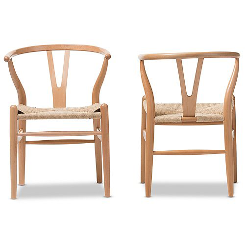 Wishbone Wood Accent Chair in Light Brown (2-pack)