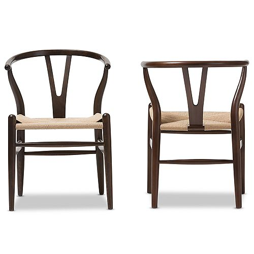 Wishbone Wood Accent Chair in Dark Brown (2-pack)
