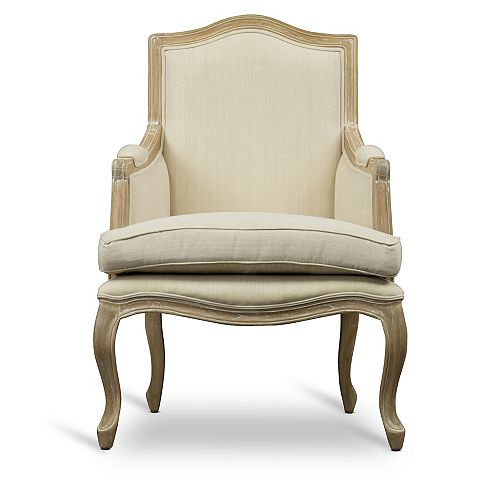 Nivernais Fabric Accent Chair in Beige and Light Brown