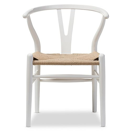 Wishbone Wood Accent Chair in White (2-pack)