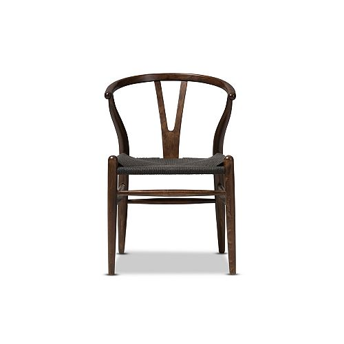 Wishbone Wood Accent Chair in Dark Brown and Black (2-pack)
