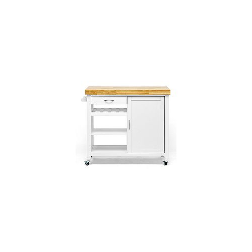 Denver 41.5-inch W Wood Top Mobile Kitchen Cart in White and Natural
