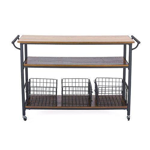 Lancashire 48-inch W Wood Top Mobile Kitchen Cart in Brown