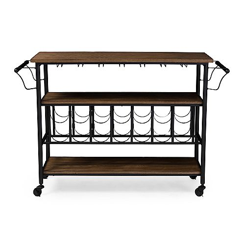 Baxton Studio Bradford 48-inch W Wood Top Mobile Kitchen Cart with Bar Serving in Black and Brown