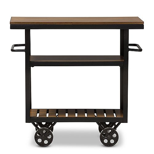 Baxton Studio Kennedy 34-inch W Wood Top Mobile Serving Kitchen Cart in Brown and Black