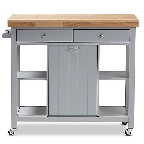 Hayward 41.5-inch W Wood Top Mobile Kitchen Cart in Light Grey and Natural