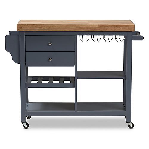 Sunderland 47-inch W Wood Top Mobile Kitchen Cart in Dark Grey and Natural