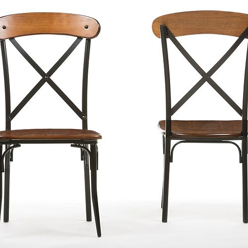 Baxton Studio Broxburn Wood Dining Chair in Brown (2-pack)