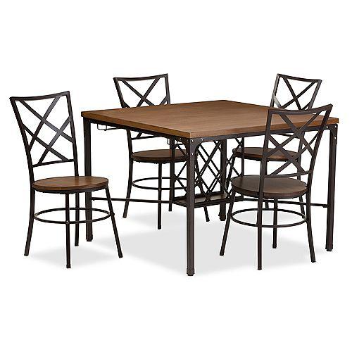 Baxton Studio Vintner 5-Piece Dining Set in Black and Brown