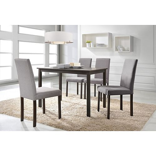 Baxton Studio Andrew 5-Piece Dining Set in Dark Brown and Grey