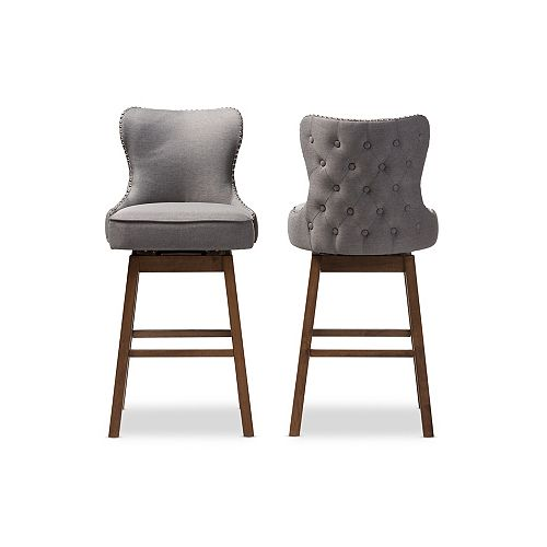 Gradisca Fabric Bar Stool in Grey and Walnut Brown (2-pack)