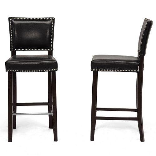 Baxton Studio Aries Faux Leather Bar Stool in Black (2-pack)