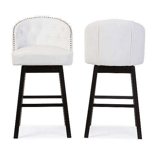 Avril Faux Leather Bar Stool in White (2-pack)