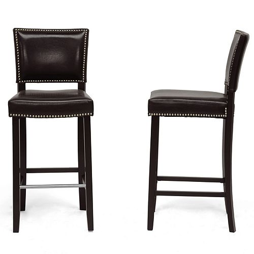 Aries Faux Leather Bar Stool in Brown (2-pack)