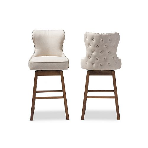Gradisca Fabric Bar Stool in Light Beige and Walnut Brown (2-pack)