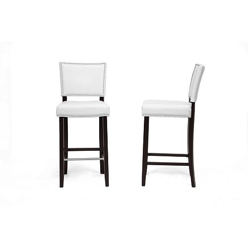 Aries Faux Leather Bar Stool in White (2-pack)