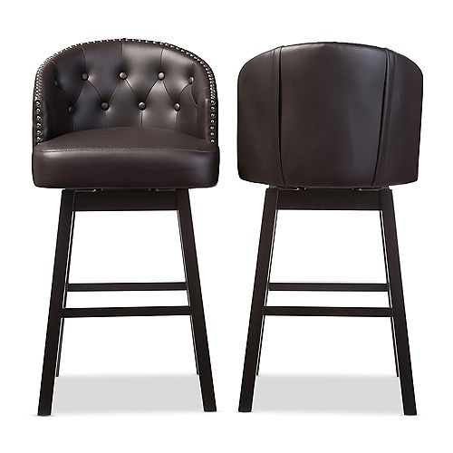 Avril Faux Leather Bar Stool in Brown (2-pack)