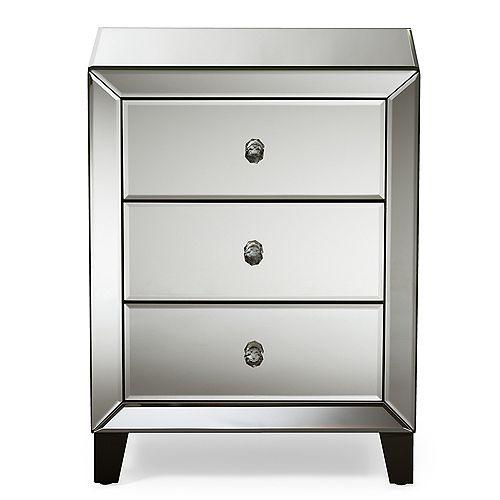 Chevron  3-Drawer Nightstand in Silver  Mirrored