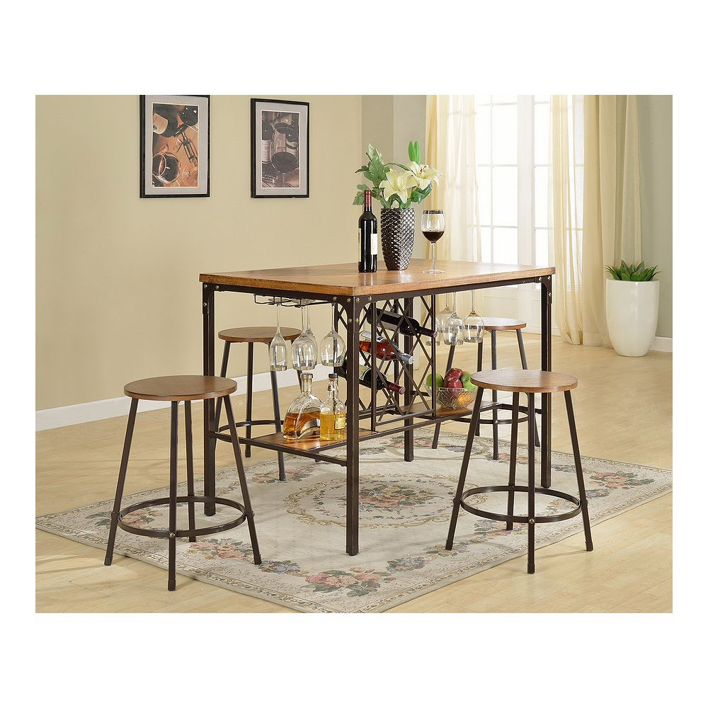 Baxton Studio Vintner 5-Piece Pub Set in Black and Brown