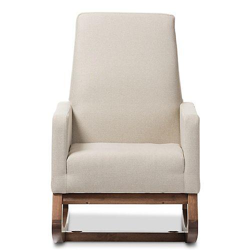 Yashiya Fabric Rocking Chair in Light Beige